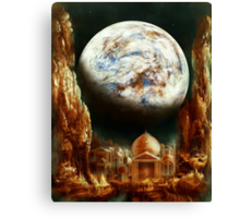 A City in Space, on a Moon the mass of Genemede... Canvas Print