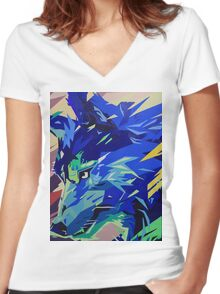"""""""Fragments of Nature, Wolf"""" Women's Fitted V-Neck T-Shirt"""