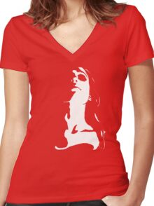Black n White Woman Women's Fitted V-Neck T-Shirt