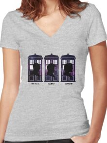 Doctor Who - 9, 10 & 11 Catchphrases Women's Fitted V-Neck T-Shirt