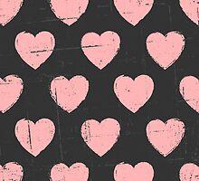 Chalkboard Pink Hearts by Iveta Angelova