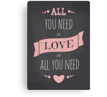 Valentine's Day Chalkboard Design Canvas Print