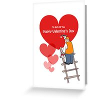 Valentine's Day Both Of You Cards, Red Hearts, Painter Cartoon Greeting Card