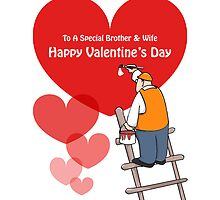 Valentine's Day Brother & Wife Cards, Red Hearts, Painter Cartoon by Sagar Shirguppi