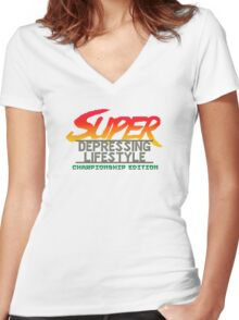 Super Depressing Lifestyle Women's Fitted V-Neck T-Shirt
