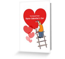 Valentine's Day Friend Cards, Red Hearts, Painter Cartoon Greeting Card
