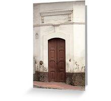Brown Wooden Door Greeting Card