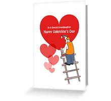 Valentine's Day Granddaughter Cards, Red Hearts, Painter Cartoon Greeting Card
