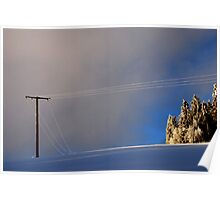 Snowy Black Forest   Snow- Covered Power Cable Poster