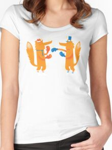 Posh Foxes like to Box while wearing Socks Women's Fitted Scoop T-Shirt