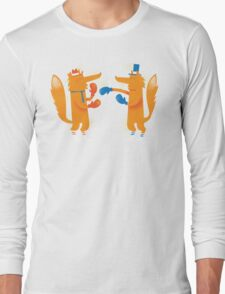 Posh Foxes like to Box while wearing Socks Long Sleeve T-Shirt
