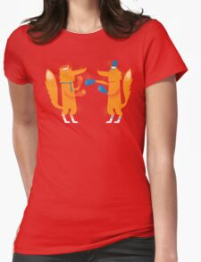 Posh Foxes like to Box while wearing Socks Womens Fitted T-Shirt