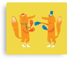 Posh Foxes like to Box while wearing Socks Canvas Print