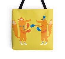 Posh Foxes like to Box while wearing Socks Tote Bag