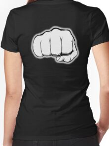 FIST, PUNCH, fight, Strength, Power, Grasp, tough, Karate, Martial Arts, MMA, on Black Women's Fitted V-Neck T-Shirt