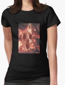 Skull Burning Womens Fitted T-Shirt