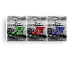 Pier and deckchairs x3 Canvas Print