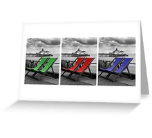 Pier and deckchairs x3 Greeting Card