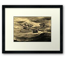 A sepia digital painting of A Saro Cloud A29 of the Royal Air Force Framed Print