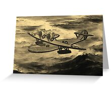 A sepia digital painting of A Saro Cloud A29 of the Royal Air Force Greeting Card