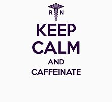 Keep Calm and Caffeinate - Purple Lettering Womens Fitted T-Shirt