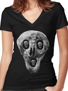 Skulls - Fear Women's Fitted V-Neck T-Shirt