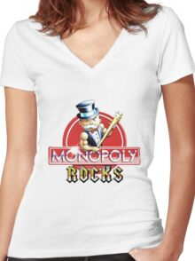 Monopoly Rocks Women's Fitted V-Neck T-Shirt