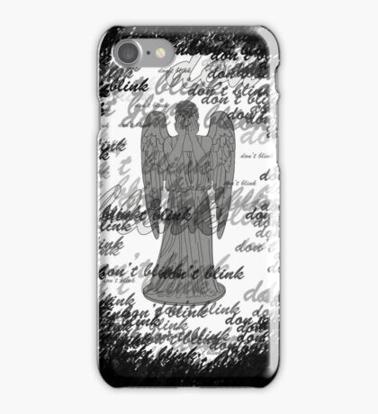 Weeping Angel -Don't Blink (scatter script) iPhone Case/Skin