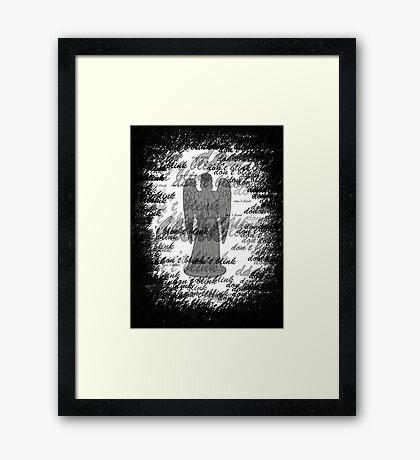 Weeping Angel -Don't Blink (scatter script) Framed Print