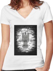 Weeping Angel -Don't Blink (scatter script) Women's Fitted V-Neck T-Shirt