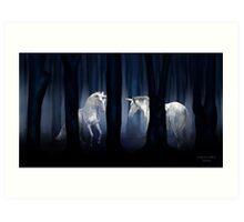 WHITE UNICORNS Art Print