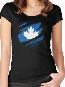 Canada Blue Leaf Women's Fitted Scoop T-Shirt