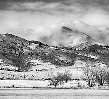 Meeker and Longs Peak in Winter Clouds BW  by Bo Insogna