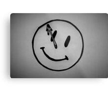 Watchmen Comedian Smiley Face Black and White Metal Print