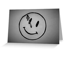 Watchmen Comedian Smiley Face Black and White Greeting Card