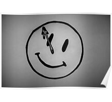 Watchmen Comedian Smiley Face Black and White Poster