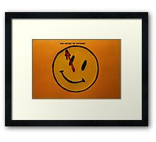 Watchmen Comedian Smiley Face Orange and Yellow Framed Print