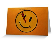 Watchmen Comedian Smiley Face Orange and Yellow Greeting Card
