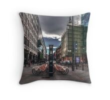 Bicycles parking Throw Pillow