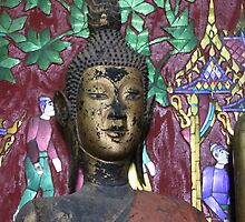 Buddha with mirror work background, Laos by indiafrank