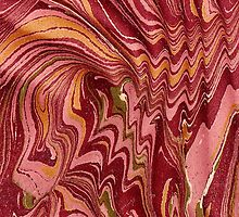 Antique Marbled Paper Pink Red Gold by Pixelchicken