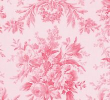 Vintage French Toile Rose Pink by Pixelchicken
