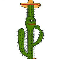 Pepe the Smug Frog Mexican Cactus by freelaffs