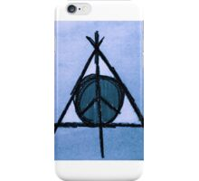 Sky Blue Deathly Hallows and Peace Drawing iPhone Case/Skin