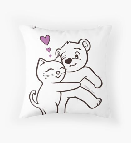 You're the Best Cat and Bear Thank You Card Throw Pillow