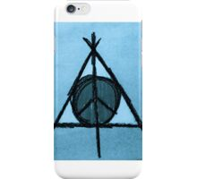 Baby Blue Tint Deathly Hallows and Peace Drawing iPhone Case/Skin