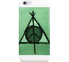 Green Tint Deathly Hallows and Peace Drawing iPhone Case/Skin