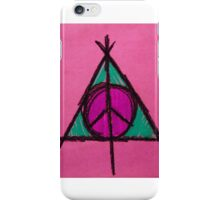 Pink and Green Deathly Hallows Peace Drawing iPhone Case/Skin
