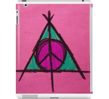Pink and Green Deathly Hallows Peace Drawing iPad Case/Skin