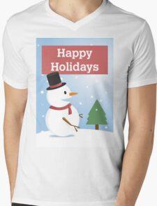 Happy Holidays Winter Snowman Mens V-Neck T-Shirt